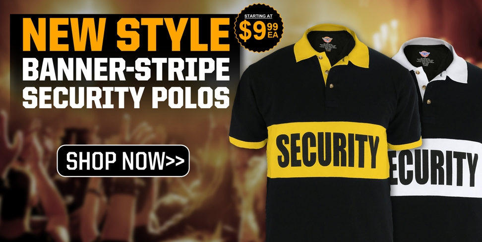 First Class Poly/Cotton Security Banner Stripe Polo Shirt