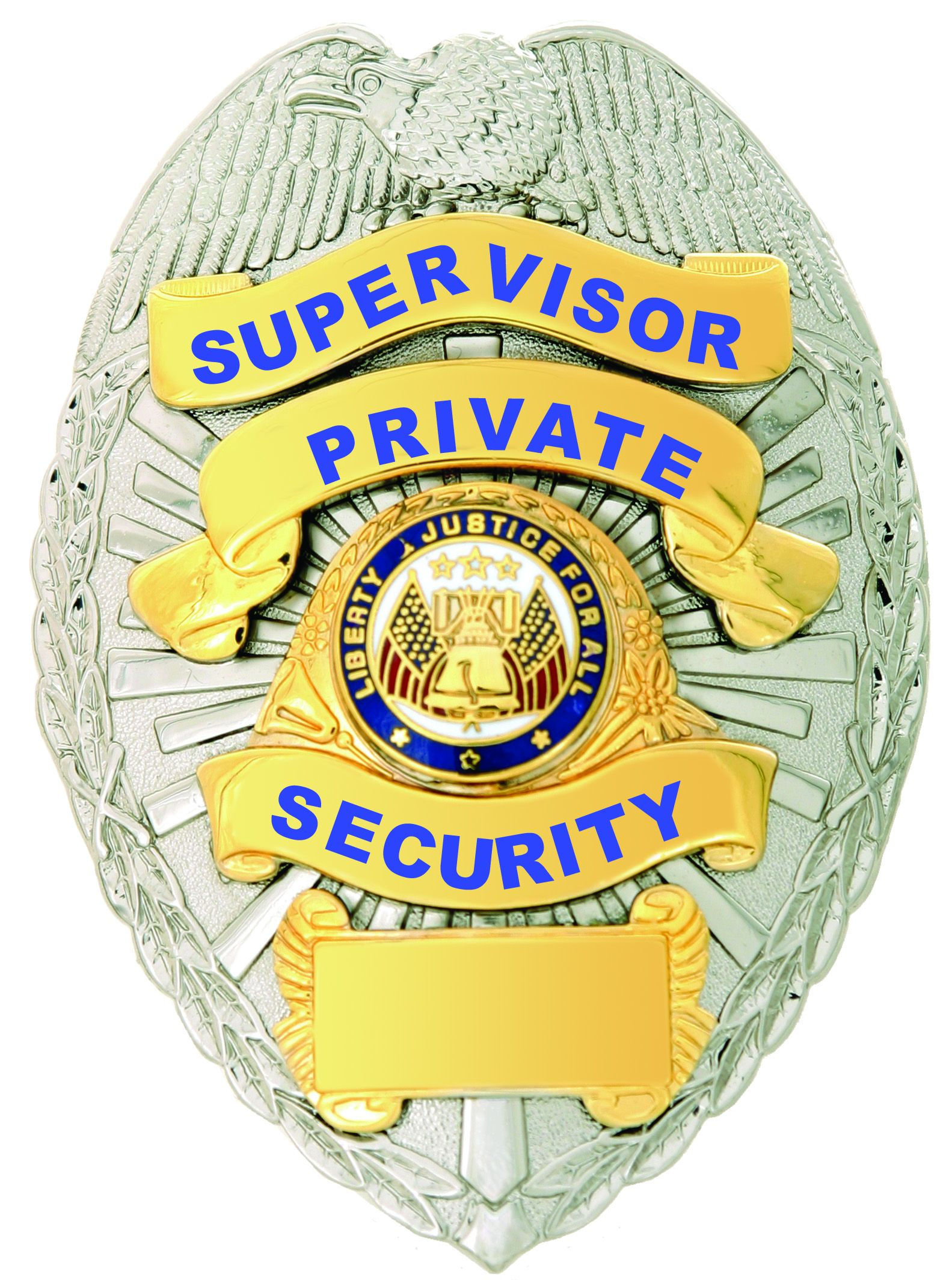 First Class Supervisor Private Security Gold on Silver Shield Badge