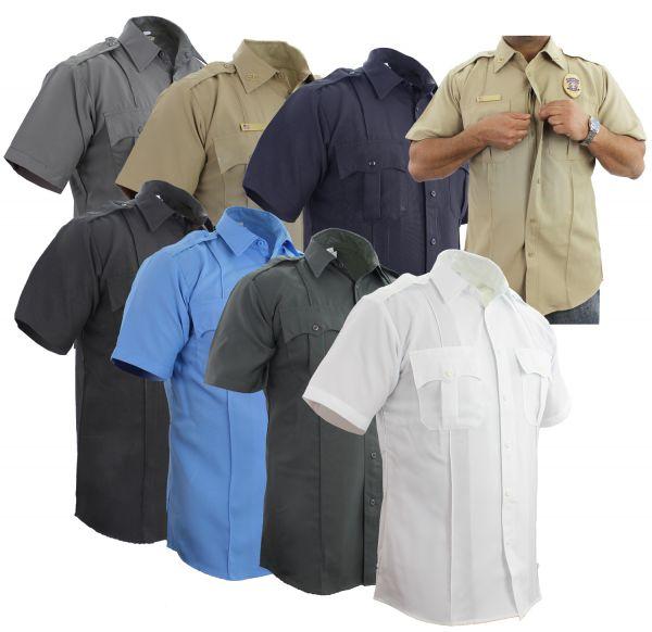 First Class 100% Polyester Short Sleeve Zippered Uniform Shirts